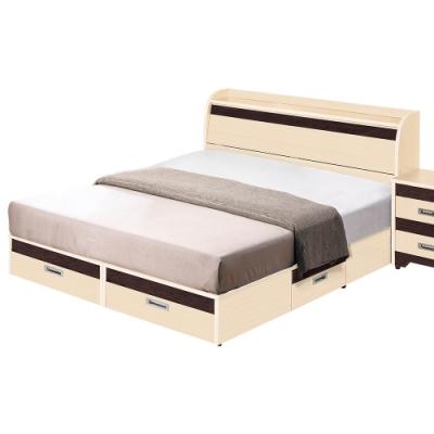 Birdie南亞塑鋼-洛娜5尺雙人四抽屜收納塑鋼床組(床頭箱+抽屜床底)(不含床頭櫃)(白橡色+胡桃色)