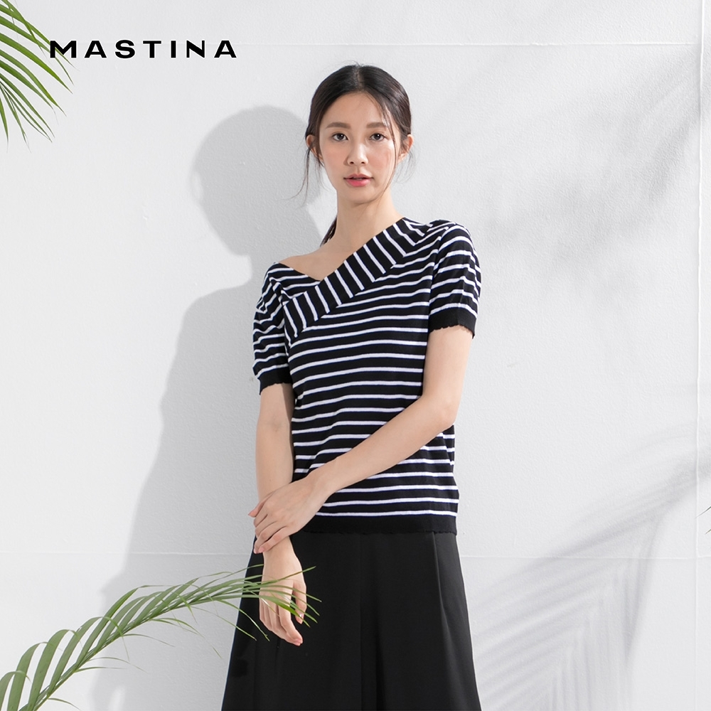【MASTINA】設計款斜口條紋-針織衫(三色/魅力價格)