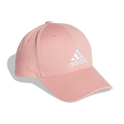 adidas 帽子 Baseball Cap 運動休閒 女款 愛迪達 老帽 棒球帽 遮陽 穿搭 基本款 粉 白 FK0893