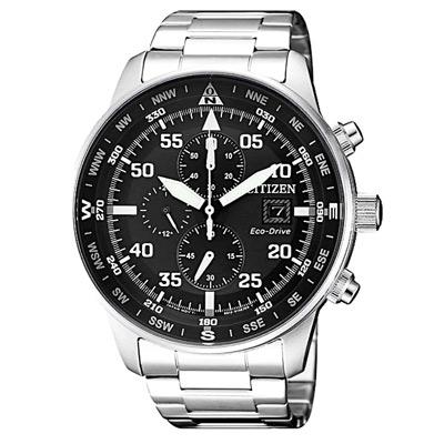 CITIZEN 星辰光動能三眼計時手錶(CA0690-88E)-黑X銀/44mm