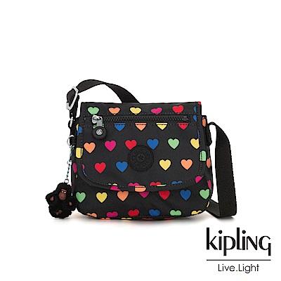 Kipling 繽紛愛心掀蓋側背小包-SABIAN