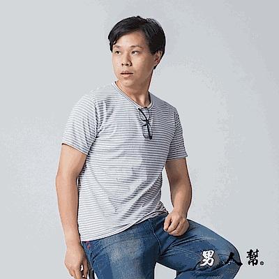 男人幫快速吸濕排汗衫百搭橫條排汗T恤(T1562)