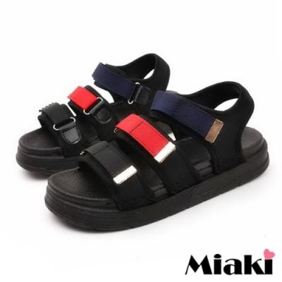 Miaki-涼鞋運動風厚底自黏涼拖-紅