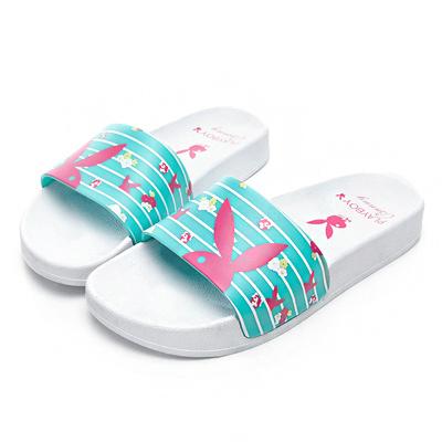 PLAYBOY 花卉繽紛橫紋休閒拖鞋-白藍-YT5051F
