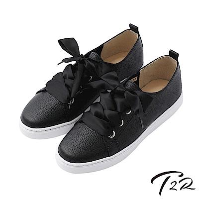 【T2R】真皮手工甜美綁帶懶人鞋-黑