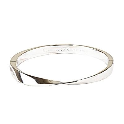 kate spade Do The Twist 壓印LOGO彎曲設計扣式手環(銀)