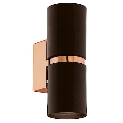 EGLO歐風燈飾 黑金雙色LED圓筒雙燈式壁燈