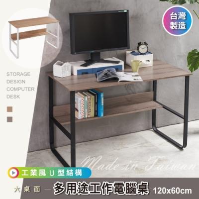 【 品質嚴選】MIT優選120cm厚實U型結構桌腳多用途工作桌/電腦桌書桌