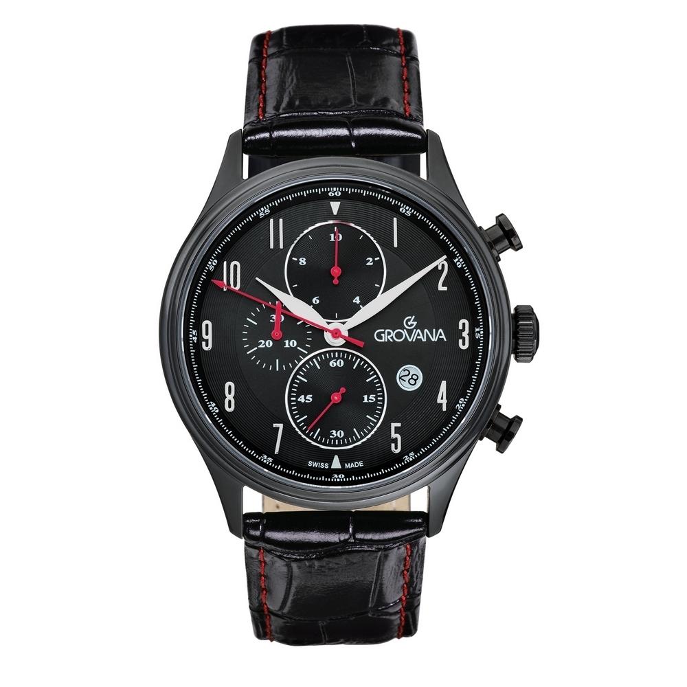 (福利品) GROVANA瑞士錶 當代系列三眼計時石英男錶(1192.9577)-黑面x黑色皮帶/42mm