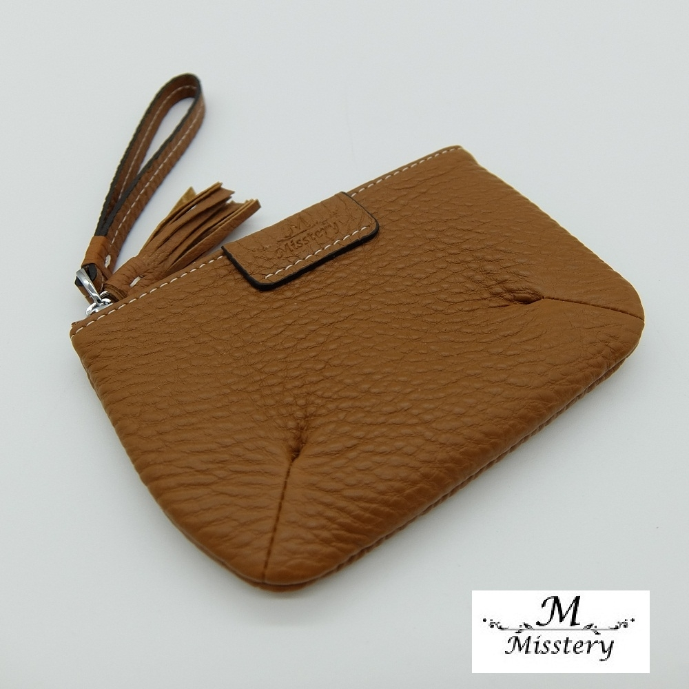 【Misstery】零錢包進口牛皮小巧壓角造型零錢包-棕(進口牛皮款式)