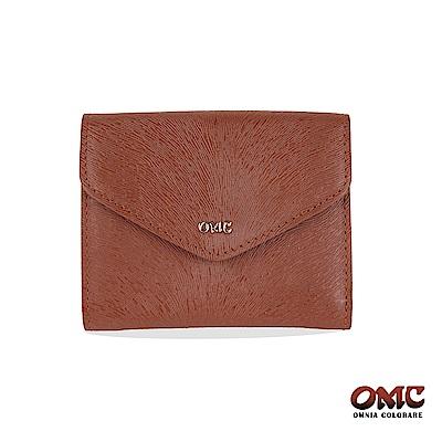 OMC 進口小牛皮-馬尾紋壓扣9卡零錢短夾-咖啡