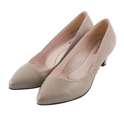 BESO優雅質感 格紋羊皮拼接跟鞋~灰