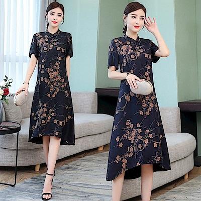 時尚民族風舒適寬鬆顯瘦洋裝L-4XL-REKO