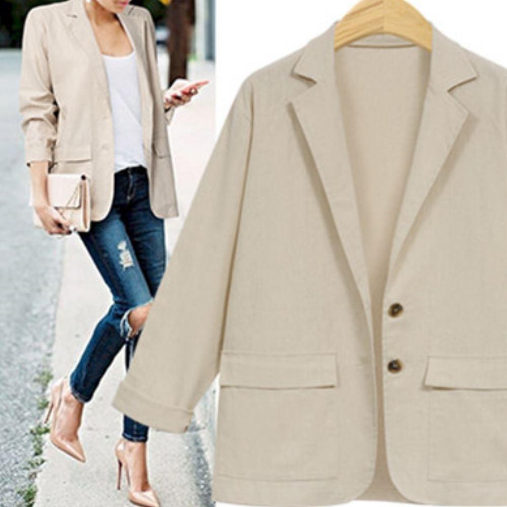MOCO素色雙口袋單排釦兩釦雙翻領西裝外套M~2XL