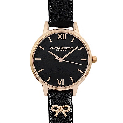 Olivia Burton 羅馬刻度黑錶面 3D蜜蜂裝飾錶帶 黑錶帶玫瑰金框手錶30mm