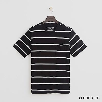 Hang Ten - 男裝 - 有機棉-小口袋V領素面T恤 - 黑底白條