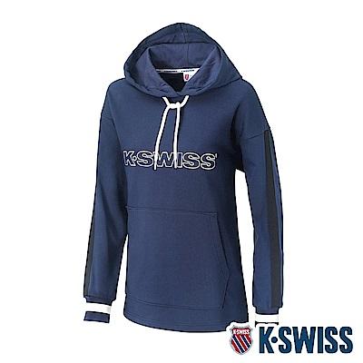 K-SWISS Heritage Tape Hoodie時尚連帽上衣-女-深藍