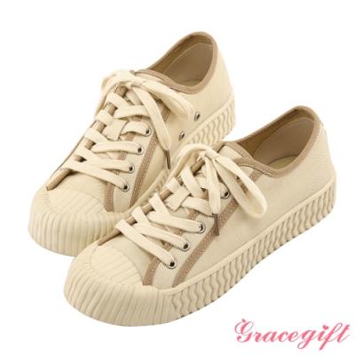Grace gift-特殊波紋底綁帶休閒鞋 米白