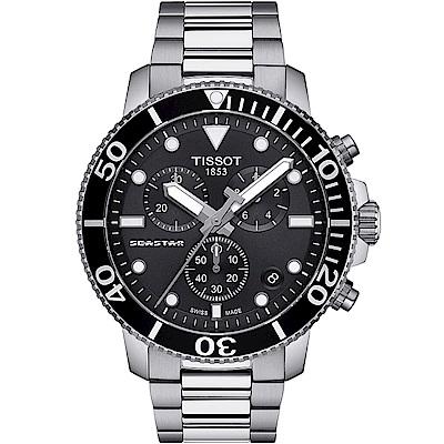 TISSOT天梭 SEASTAR海星計時300米潛水錶(T1204171105100)-黑
