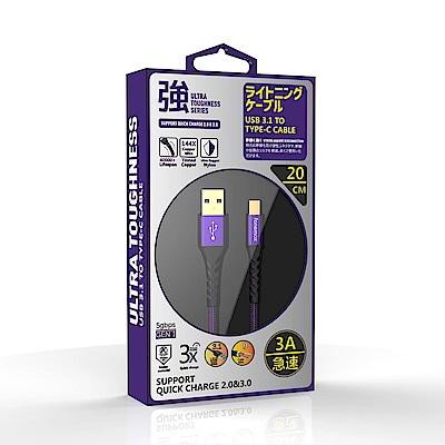 【Fonemax】超強韌 3A Type-C 快充線20cm紫