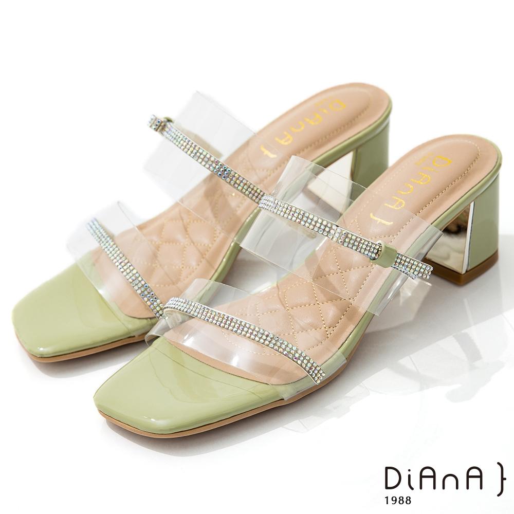 DIANA 6cm 糖果漆皮透明PVC方頭涼拖鞋-夏日風情-綠