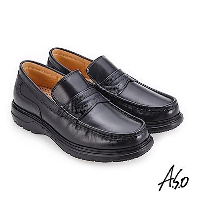 A.S.O 厚切超動力 超寬楦樂福皮鞋 黑