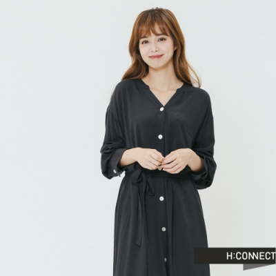 H:CONNECT 韓國品牌 女裝-氣質排扣綁帶洋裝-藍