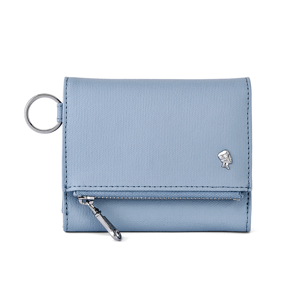 PORTER - 輕甜繽紛SPIRIT多夾層零錢皮夾 - 粉藍(銀)