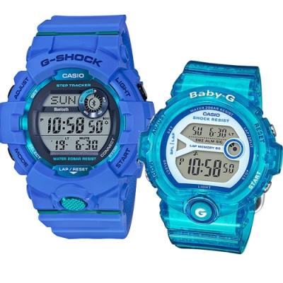 CASIO 藍綠雙搭電子休閒運動錶(GBD-800-2D+BG-6903-2B)