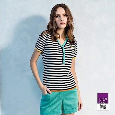 ILEY伊蕾 POLO衫造型領配色條紋針織上衣(黑)