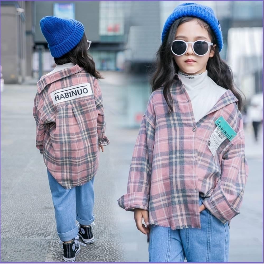 小衣衫童裝 中大童韓版粉彩格紋長袖寬鬆襯衫1080963