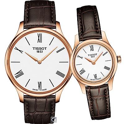 TISSOT天梭唯你寵愛超薄對錶-玫瑰金色/40+26mm