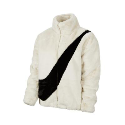 Nike 外套 NSW Faux Fur Jacket 女款 休閒 羔羊外套 絨毛 穿搭 流行 白 黑 CU6559238