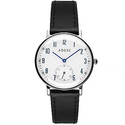 ADEXE 英國時尚手錶 Freerunner單眼系列 白錶盤x銀錶框皮革錶帶32.5mm