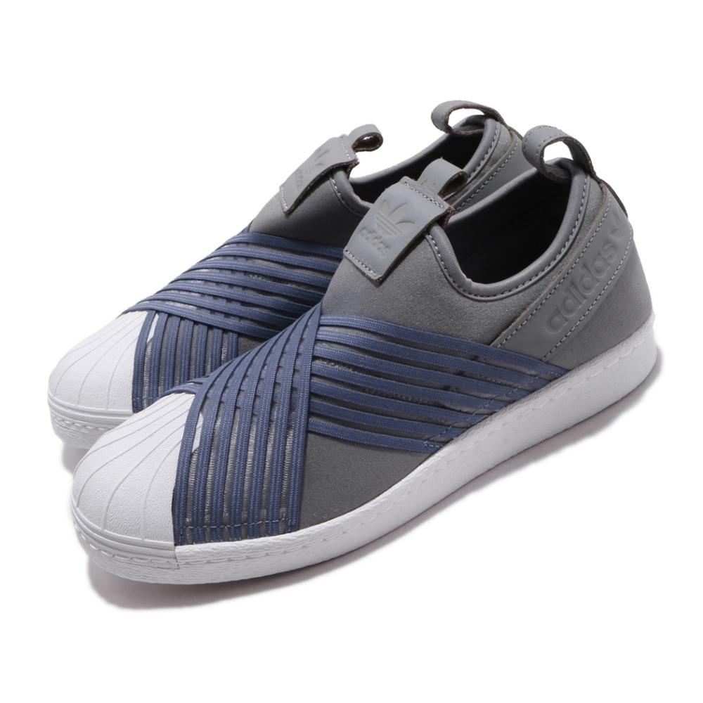 adidas 休閒鞋 Superstar Slip On 女鞋 海外限定 愛迪達 三葉草 襪套 無鞋帶 灰 藍 CG6012