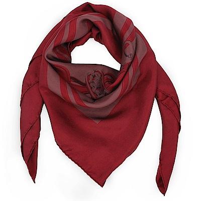HERMES BRIDES DE GALA馬鞍帶真絲披肩方型絲巾-暗紅色