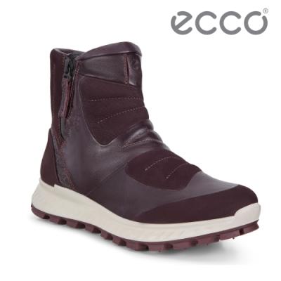 ECCO EXOSTRIKE 時尚拼接戶外保暖短靴 女-霧紅色