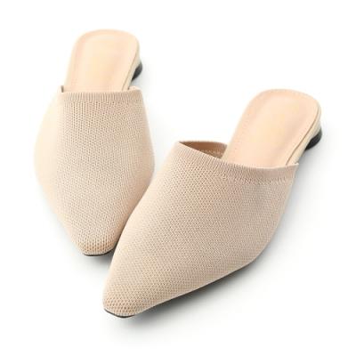 D+AF 法式優雅.透氣針織料尖頭穆勒鞋*杏