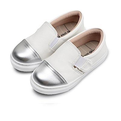 BuyGlasses 銀頭素面魔鬼氈兒童懶人鞋-白