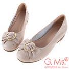 G.Ms. MIT系列-牛皮蝴蝶結楔型小坡跟鞋-米白