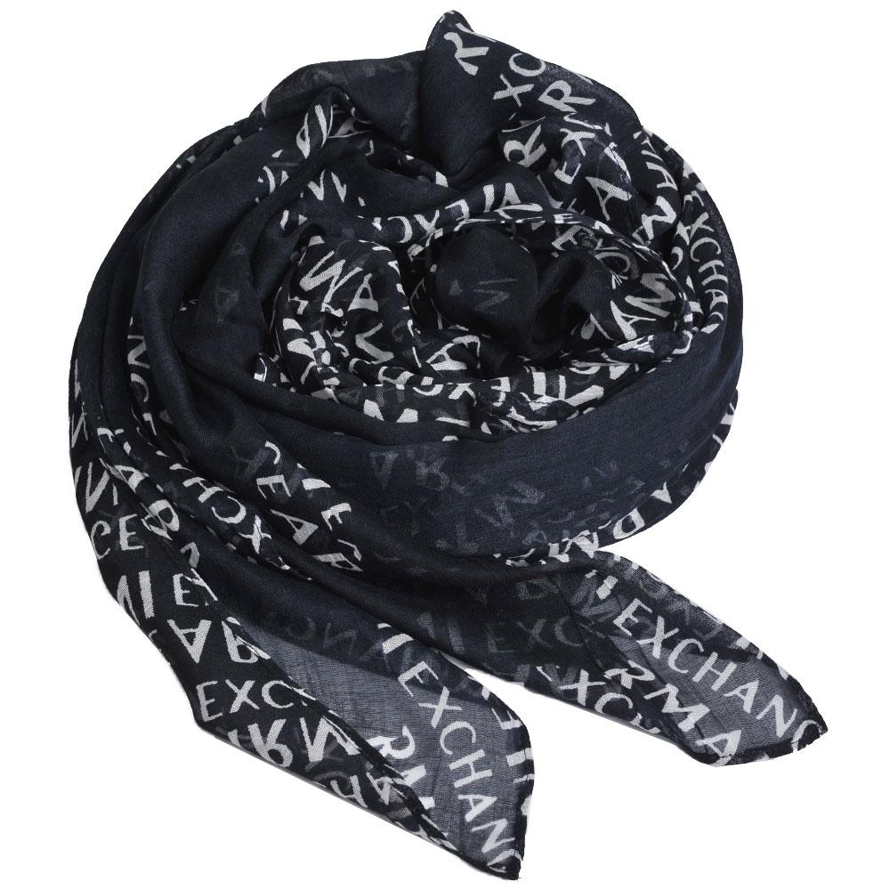 A|X Armani Exchange 品牌字母LOGO圖騰莫代爾纖維圍巾(黑底)