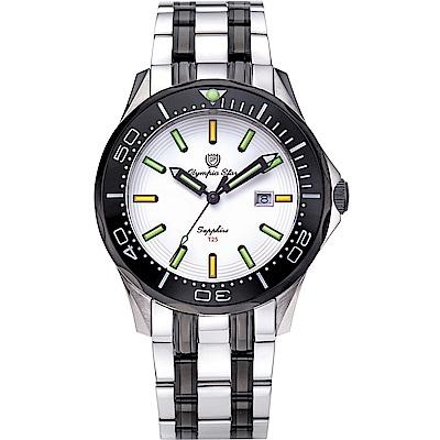 OlympiaStar 奧林比亞之星 神盾系列極限氚氣石英錶(98024TGSB)-雙色