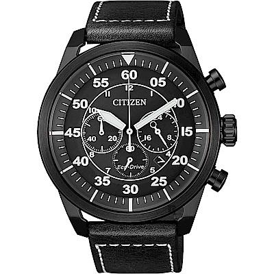 CITIZEN 星辰 光動能飛行員計時手錶-灰x黑/45mm(CA4215-21H)