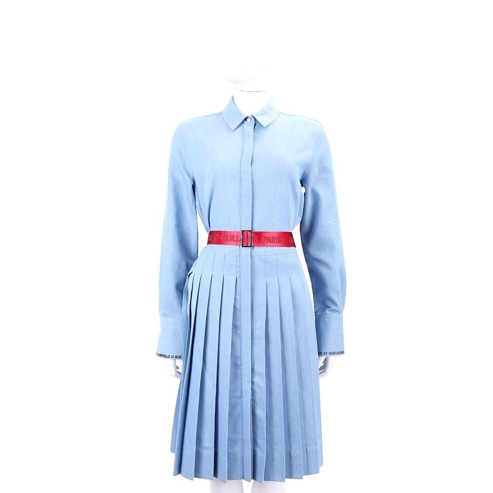 Karl Lagerfeld 反折袖牛仔藍襯衫式壓摺洋裝(附撞色字母腰帶)