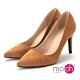 mo.oh-素面尖頭麂皮絨面質感高跟鞋-知性棕 product thumbnail 1