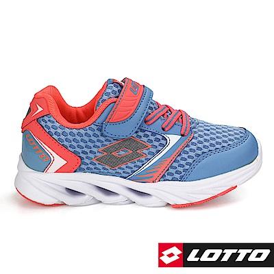 LOTTO 義大利-中童WINDFLY 乘風者風動跑鞋 (水藍粉桔)