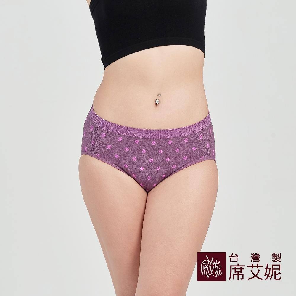 席艾妮SHIANEY 台灣製造 超彈力舒適內褲 抗菌竹炭纖維少女小花款-紫色