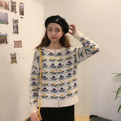艾米蘭-可愛滿版印花針織拉鍊外套-2色-F