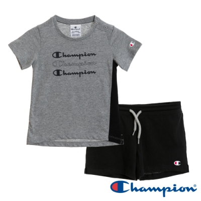 Champion EU小童短袖套裝 灰x黑