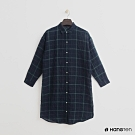 Hang Ten - 女裝 - 簡約格紋配色長版襯衫 - 綠
